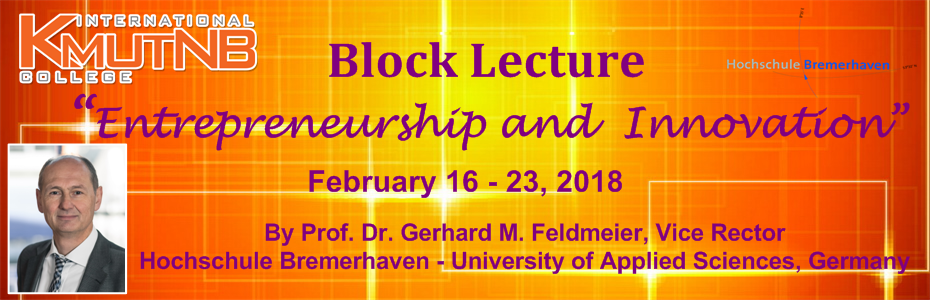 Block Lecture 2018: Entrepreneurship and Innovation